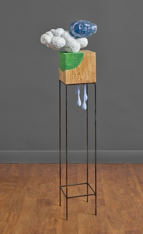 Sachiko Akiyama  Between, 2019  Wood, Steel, Paint, Resin  53h x 14w x 8d in. an abstract sculpture featuring a wooden cube and resin cast head on top of a cloud