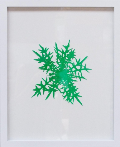 Hannah Cole  Thistle, 2018  watercolor on cut paper  Framed: 20h x 16w in 50.80h x 40.64w cm  HC_051