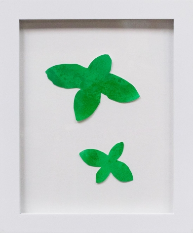 Hannah Cole  Two Criss-Cross Weeds, 2018  watercolor on cut paper  Framed: 10h x 8w in 25.40h x 20.32w cm  HC_038