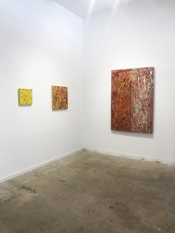 Yellow Ghost, 2019, inkjet, acrylic on panel, Sunset, 2019, Inkjet and acrylic on panel, Double Vision, Acrylic and Hammock on panel