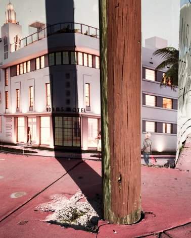 Park Avenue, 2018, from the series FloodZone  Archival pigment print  32 x 40 inches  Edition of 5, advertisement of an art deco building on a wall with a shadow of a telephone pole across the center, pink sidewalk in front