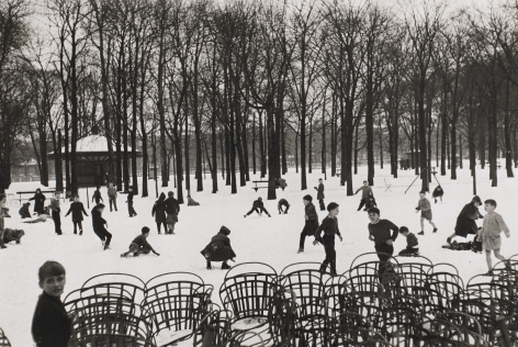 Edouard Boubat (1923-1999)  Enfants dans le Premiere Neige, 1953, printed later  Gelatin silver print  9 1/2h x 14 1/4w in 24.13h x 36.20w cm, Black and White Photography
