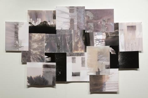 Bridget Conn  Vague Word #4, 2018  Silver Gelatin Photographic Chemigram collage, thread, nails  29h x 47w x 1d in