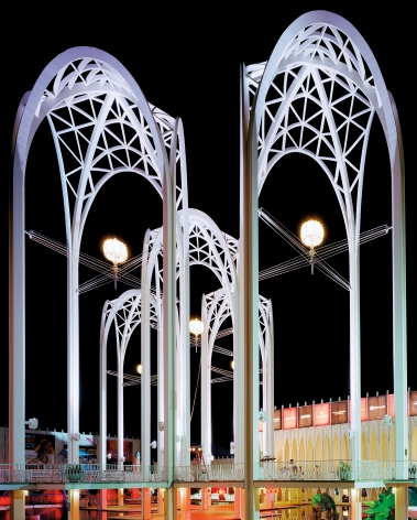 Jade Doskow, Seattle 1962 World's Fair, The Century 21 Exposition, Science Center Arches at Night, 2014, Archival Pigment Print, 25h x 20w in, 63.50h x 50.80w cm, Photography