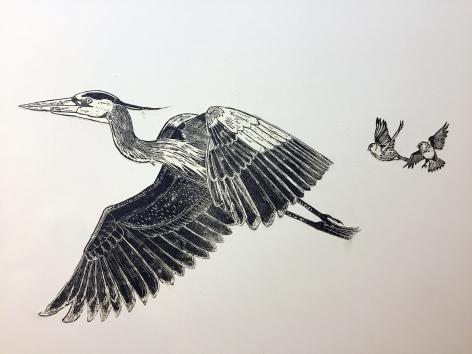 Sachiko Akiyama  The Great Migration, n.d.  Weatpasted wood block prints  Dimensions Variable, black and white wood block prints of various migratory birds