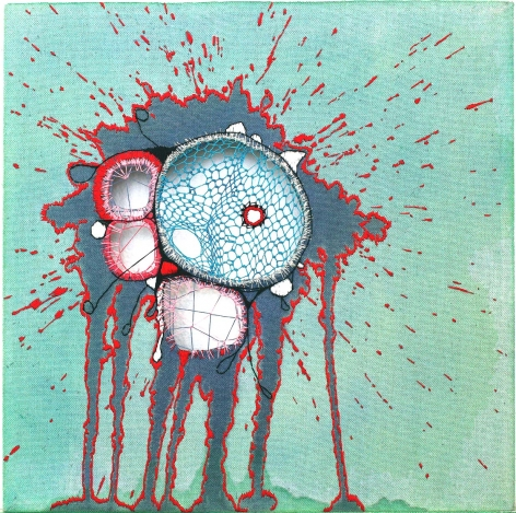 Nava Lubelski  Like Those Monsters, 2009  Thread on stained canvas  12h x 12w in
