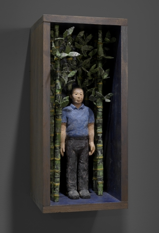 Sachiko Akiyama  In the Forest of Ghosts, 2016  Wood, Paint, Woodblock Prints, Wire  10 1/2h x 10w x 23 1/2d in. a self contained artificial ecosystem  with a figure in a bamboo like forest.
