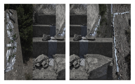 "Dawn Roe  Francoist Bunker, Spain/France Border (Concrete, Cloth, Boulders, Tape), from the series ""Conditions for and Unfinished Work of Mourning: Beauty As a Appeal to Join the Majority of Those who Are Dead"", 2017  Two Panel Archival Pigment Print  20 x 16 inches each, Asheville, Contemporary Art, Photography"