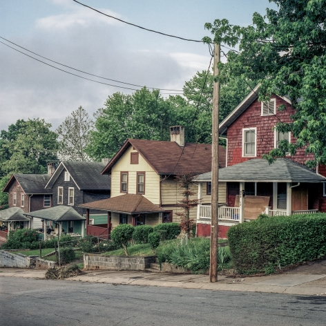 Ken Abbott  Blanton St. Houses, South French Broad, Asheville, May 2003, Printed 2020  Archival Pigment Print  Image Size: 7 x 7 in Paper Size: 12 x 9 1/2 in Mat Size: 14 x 11 in  Edition of 10  $ 300.00 unframed, photograph of brightly colored row houses