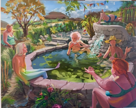 """Margaret Curtis  The Healer's Wife, 2019  Oil on Panel  48h x 60w in 121.92h x 152.40w cm  MC_030, oil painting of a old man in a hot spring """"mansplaining"""" to the 5 women bathing around him, southwestern landscape in the backgroung"""