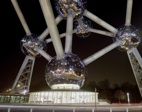 """Jade Doskow, Brussel's 1958 World's Fair, """" A New Humanism,"""" Atomium at Night, 2008, Archival Inkjet Print. Photographs."""