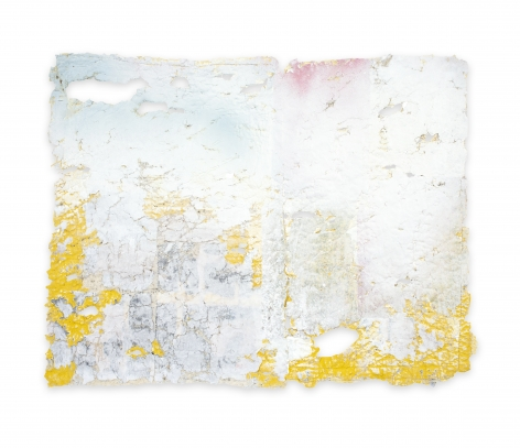 Rachel Meginnes  Aftermath, 2019, Mixed Media Deconstructed quilt, hand stitching, image transfer, acrylic, and spray paint  24h x 31w in 60.96h x 78.74w cm  Unique