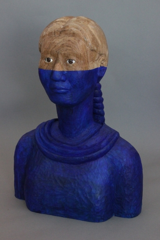 Sachiko Akiyama  Parallel World, 2017  Wood, Resin, Paint  6h x 12w x 7 1/2d in. a bust of a female figure where from the nose down is a deep blue