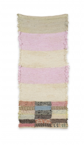 Rachel Meginnes  Candy, 2020  Handwoven vintage quilt fragments, cotton, and linen  22h x 10w inches  $800 unframed (framing $150), vertical, colorful abstract weaving (pink, yellow, red, blue