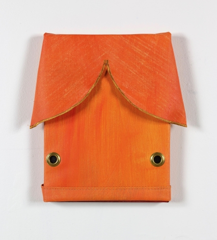 Susan Metrican  Side Mouth, 2019  Acrylic on canvas, thread, grommets  12 1/4h x 12 2/5w in 31.12h x 31.50w cm  Painted edition of 9  SM_001, bright orange painting that has the appearance of a goldfish, two grommets fo eyes and fabric additions