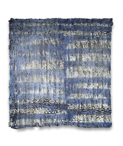 Rachel Meginnes  Blueprint, 2018  Deconstructed quilt, cotton fabric, cotton string, and acrylic  79h x 75w in, Painting, Contemporary art