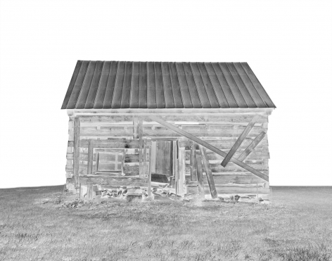 Gesche Würfel  Slave Dwellings (Pine Hall Plantation), 2014  Archival Pigment Print  11h x 14w in 27.94h x 35.56w cm, Photograph, solarized image of a slave cabin