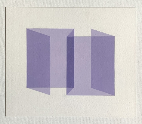 Ralston Fox Smith  Limbo, 2020  Oil on paper  10 1/2h x 12 1/2w in 26.67h x 31.75w cm  RFS_025  $ 400.00, geometric illusion, lavender shape on white plane