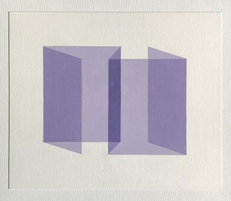 Ralston Fox Smith  Limbo, 2020  Oil on paper  10 1/2h x 12 1/2w in 26.67h x 31.75w cm  RFS_025  $ 400.00, geometric illusion, lavender shape on white plane