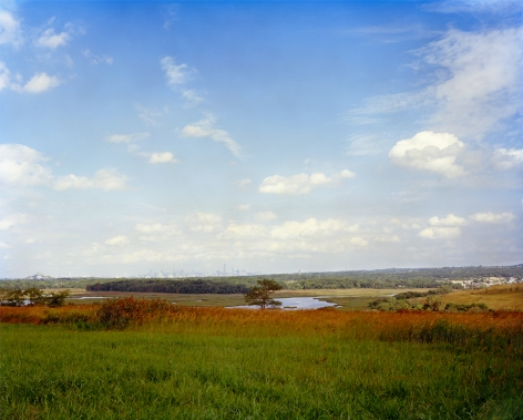Autumn landscape with New York City Skyline in the distance, Taken from the North Mound, Looking Northeast, Freshkills, NYC