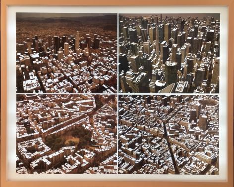 Nicholas Hall  Four City Views, 2017  Dimensional Paper Cut-Out with light box  22h x 28w in, Unique, Work on paper, Unique