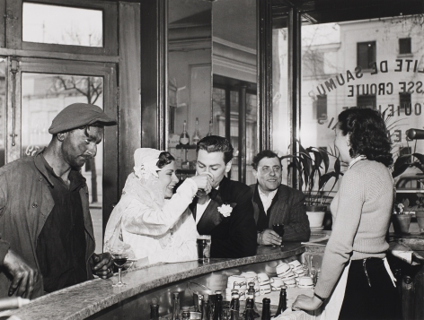 Robert Doisneau (1912-1994)  Cafe Noir et Blanc, 1948, Printed Later  Gelatin silver print, 12h x 16w in, black and white photography