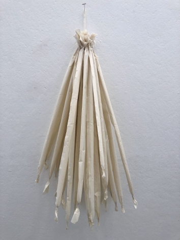 Molly Sawyer  Pink Paper Rags, 2019  Rice paper and hand spun yarn  20h x 20w x 10d in 50.80h x 50.80w x 25.40d cm  ms_015 Dyed pink paper strips hanging from hand spun yarn