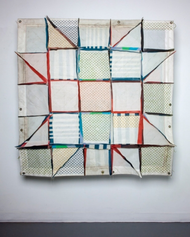 Lydia See  35.4275927,-83.4446604 Appalachian Dream, 2019  pieced salvaged construction mesh, thread, wool salvaged from closed rug weaving mill  55h x 55w in 139.70h x 139.70w cm  LS_007  $ 2,000.00, salvaged construction mesh stitched into a quilt, with various colors, red, green blue, orange