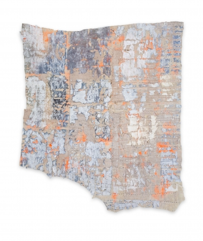 Rachel Meginnes  Tell Tale, 2019, Mixed Media, Deconstructed quilt, machine stitching, image transfer, and acrylic  31 1/4h x 27w in 79.38h x 68.58w cm  Unique