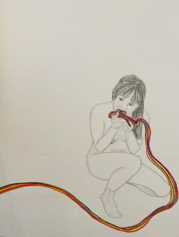 Orly Cogan  Devouring Rainbows, 2020  Colored pencils and granite on paper  18h x 12w in 45.72h x 30.48w cm, drawing of the artist, nude, eating a rainbow which extends from the left to right lower corner of the paper