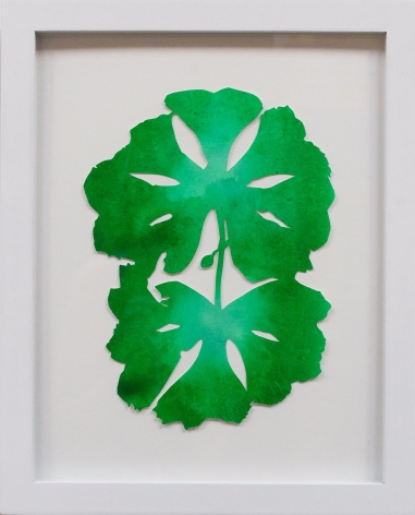 Hannah Cole  Double May Apple, 2018  watercolor on cut paper  Framed: 14h x 11w in 35.56h x 27.94w cm  HC_055