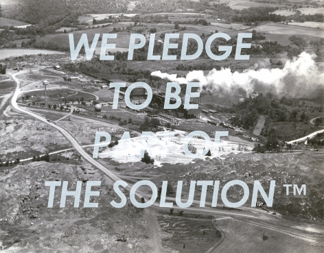 Kirsten Stolle  We Pledge to be Part of the Solution, from the series By the Ton, 2016  Silkscreen on archival pigment print  11h x 14w in 27.94h x 35.56w cm  Edition 1/3  KS_037