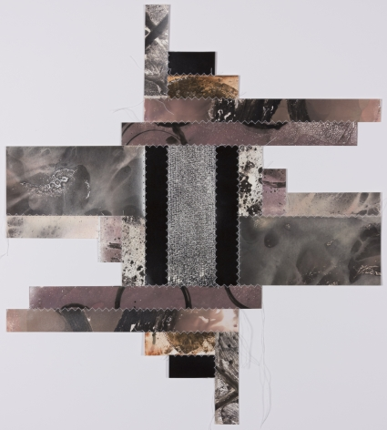 Bridget Conn  Pattern-Speak #7, 2018  Silver Gelatin Photographic Chemigram collage, thread 16h x 18w in