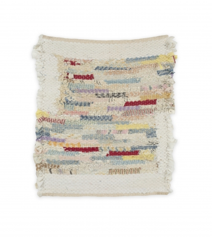 Rachel Meginnes  Pinstripe Block, 2020  Handwoven vintage quilt fragments, cotton, and linen  12h x 10w inches  $450 unframed (framing $100), square format, white and multicolored, abstract weaving