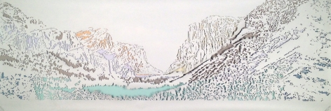 Nicholas Hall  Poster #1 (Yosemite), 2014  Dimensional Paper Cut-Out with collage  26h x 72w in, Unique, Works on paper