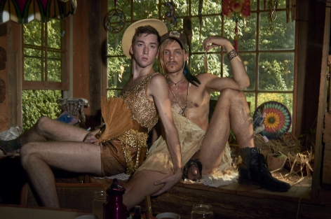 Stacy Kranitz  Short Mountain, Tennessee, 2012  Archival pigment print  16 x 24 inches, Edition of 7  27 x 40 inches, Edition of 3, Two men with fan and hats with genitals exposed, Tennessee