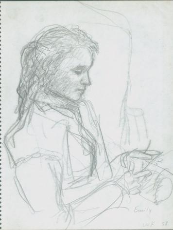 Wolf Kahn, Emily Knitting, 1958    Pencil 10 1/2 x 8 1/4 inches