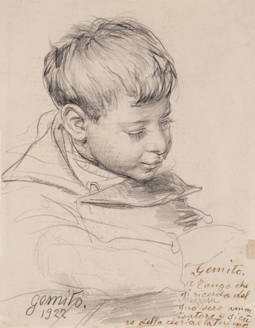 Vincenzo Gemito Italian, 1852-1929 . Head of a Boy, 1922    Pencil on paper 8 3/4 x 6 11/16 in.