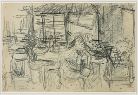 Wolf Kahn, Racepoint Cabin with a Guest, 1954    Pencil 6 x 9 inches