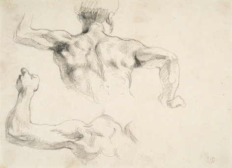 Eugene delacroix Torso of a Man Seen from Behind, Study for the Murals at The Salon du Roi, Palais Bourbon, Paris, 1833-37    Pencil on paper 7 1/4 x 10 1/8 inches