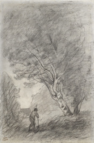 Jean-Baptiste-Camille Corot  Paysage Verso: Landscape Study  Charcoal on paper 20 x 13 1/4 inches