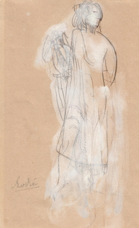 AUGUSTE RODIN French, 1840-1917, Femme debout à la draperie, c. 1896, Pen and brown in with white gouache on paper 6 7/8 x 4 1/4 in.