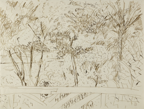 Pierre Bonnard View from the Terrace at Vernon, c. 1918  Pen and ink on paper 9 3/4 x 12 3/4 inches