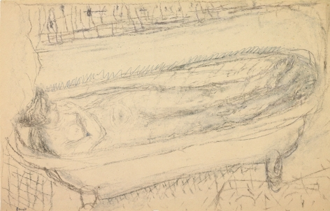 Pierre Bonnard Nude in the Bath, c. 1936    Brown and black chalk and pencil on buff paper 12 5⁄8 x 19 ¾ inches