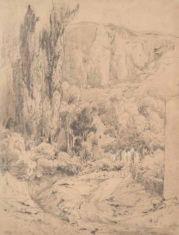Theodore Rousseau Landscape, c. 1834 Graphite on paper 11 1/2 x 8 3/4 inches