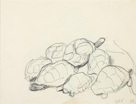 Wolf Kahn, Turtle Club, 1952    Pencil 5 1/2 x 7 inches