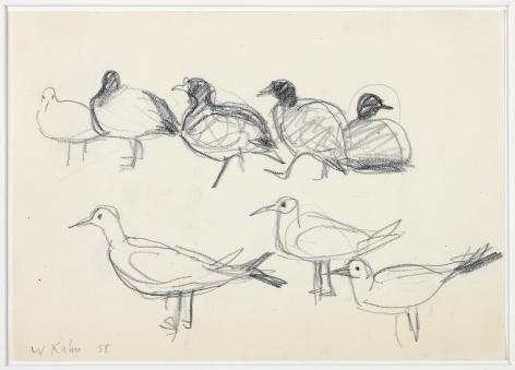 Wolf Kahn, Shore Birds, 1958    Pencil 6 x 8 inches