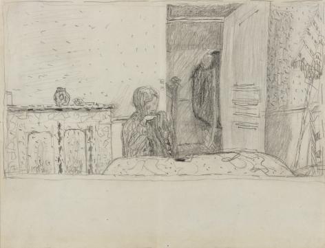 """Pierre Bonnard  Study for """"Salle à manger au parasol,"""" c. 1932 Verso: Four Sketches    Pencil on paper 9 1⁄4 x 12 ½ inches"""