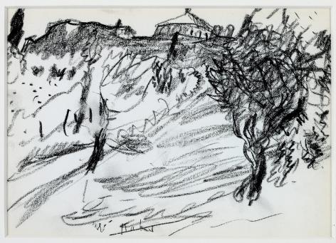 Wolf Kahn, Up Toward Pienza, 1958    Pencil 4 1/2 x 6 1/2 inches