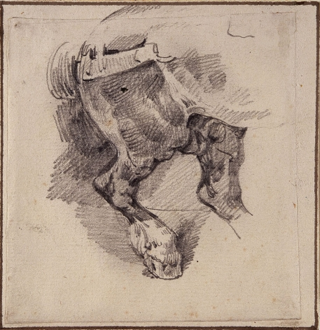 """Théodore Géricault, Study for """"The Pasterer's Horse,"""" 1822 or 1823    Graphite on paper mounted to card 3 1/2 x 3 3/4 inches"""